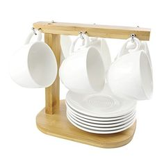 Espresso Cups and Saucers Set, Set of OZ(Small) Coffee Cup], Ceramic Espresso Latte Coffee Cup and Saucer Set with Bamboo Display Stand – Tea Cups and Saucers Set for Home and Office, White Small Coffee Cups, Coffee Cups And Saucers, Coffee Set, Cup And Saucer Set, Tea Cup Saucer, Espresso Cups, Espresso Latte, Home Coffee Stations, Diy Kitchen Storage