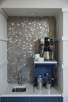 That backsplash tho || Hotel room touches: Wake up to fresh coffee without leaving your bedroom! --> http://www.hgtv.com/design/hgtv-smart-home/2015/master-bedroom-pictures-from-hgtv-smart-home-2015-pictures?soc=smartpin