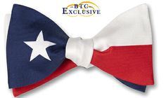 """Bow Tie Club: Lone Star-The Texas flag, blue stands for loyalty, white for purity, and red for bravery. It is a symbol of Texas' independent spirit, and gave rise to the state's official nickname """"The Lone Star State"""". $43."""