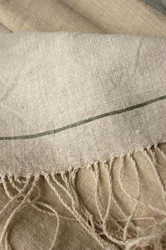 Wonderful , RARE European homespun linen grain sack fabric ~ green stripe! Lovely for French country interior ~ beautifully hand-made ~ www.textiletrunk.com