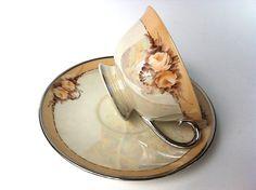 Ransgil Tea Cup and Saucer, Porcelain China Tea Cup - Made California.