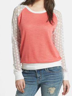 Cute polka dots & #coral sweatshirt http://rstyle.me/n/fyrcynyg6