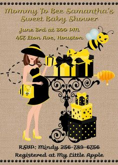 Mom to Bee Baby Shower Bumble Bee Invitation - Custom Printable