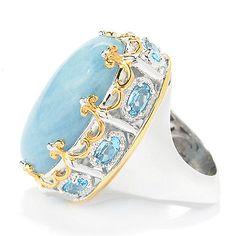 153-803 - Gems en Vogue 25 x 15mm Aquamarine & Swiss Blue Topaz Crown Ring