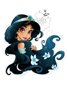 Project for Disney. Sketchy drawings and vector illustrations of Disney Princesses. Project for Disney. Sketchy drawings and vector illustrations of Disney Princesses. Princesa Disney Jasmine, Disney Princess Jasmine, Disney Princess Drawings, Disney Princess Art, Disney Nerd, Disney Fan Art, Punk Disney, Drawings Of Disney Princesses, Princess Jasmine Tattoo