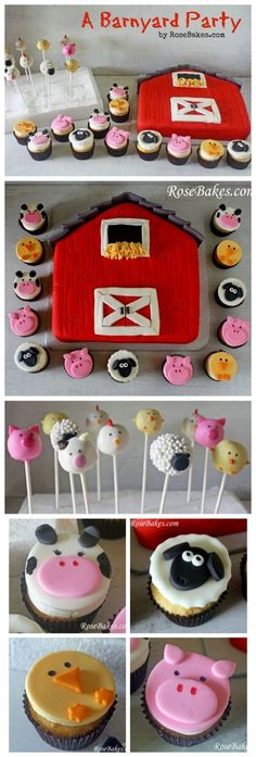 Barnyard Party with a barn cake and animal cupcakes and cakepops