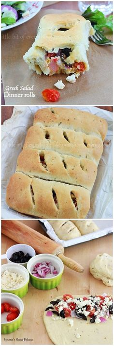Flavorful olive oil bread filled with tomatoes, onion, olives and feta cheese making a delicious weeknight dinner.