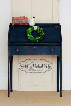 Navy blue desk - Miss Mustard Seed Artissimo paint color - desk painted by Abbe' Doll of http://www.alldolledupwichita.com/