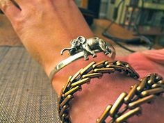gustav manz bracelet worn here with a alex and ani bangle from their vintage sixty-six line