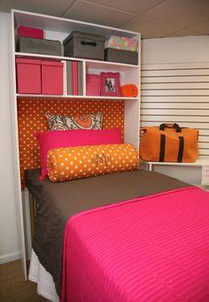 I love this! Shelf & Headboards. Storage and cute! @essies2 not sure where we could find those shelves though!?