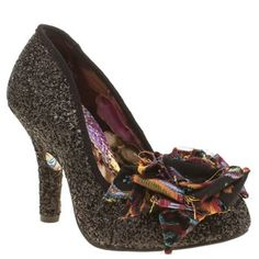 £79 womens irregular choice black mal e rose glitter high heels
