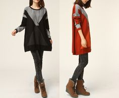 Knielange Kleider - Drei-Farben-Frauen Strickkleid - ein Designerstück von minyaZhou bei DaWanda