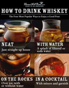 The Easy-Genius Whiskey Tasting Guide - How to Drink Whiskey The essential guide for every man. Have ever wondered how to drink whiskey or what is a neat whiskey versus a on the rocks versus? Look no further the answer is here! Bourbon Drinks, Whiskey Cocktails, Bar Drinks, Cocktail Drinks, Beverages, Bourbon Glasses, Cigars And Whiskey, Bourbon Whiskey, Irish Whiskey