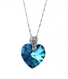 Blue Crystal Heart Shaped Pendant Necklace