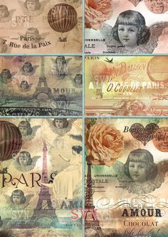 Paris Angels  6 different cards  Digital Collage por suvenireprints