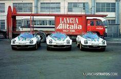 Race Car Transporters - Lancia Alitalia tally Team with Lancia Stratos Course Automobile, Classic Race Cars, Classic Auto, Rally Raid, Car Carrier, Car Trailer, Vintage Race Car, Racing Team, Auto Racing