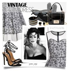 """Vintage Dress "" by goreti ❤ liked on Polyvore featuring Gucci, Le Specs, Munro American, vintage and rosegal"