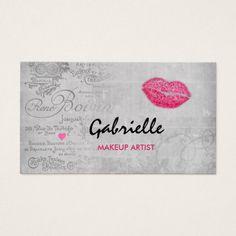 Girly Vintage Grunge Pink Lips Kiss Makeup Artist Business Card