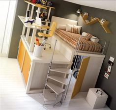 triple bunk bed? put another bed where desk is and put a third bed under the highest one...no door. GENIUS for small spaces