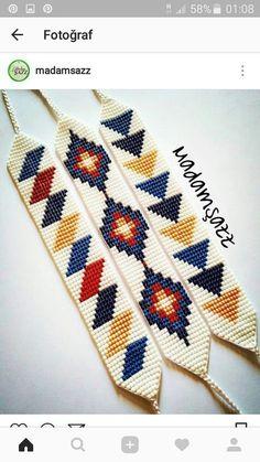 Loom Bracelet Patterns, Bead Loom Bracelets, Bead Loom Patterns, Beaded Jewelry Patterns, Peyote Patterns, Beading Patterns, Beading Ideas, Mosaic Patterns, Knitting Patterns