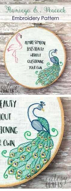 Flamingo and Peacock Free Embroidery Pattern - Quote embroidery