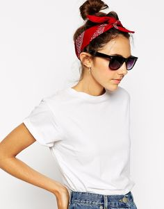 Image 1 of ASOS Bandana Dots Print Headscarf Neckerchief