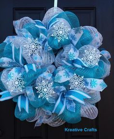 Winter Blue and White Snowflake Deco Mesh Wreath.  Kreative Crafts