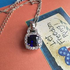 Blue crystal pendant. 3/4 inch pendant with blue simulant stone with white crystals around blue stone. Comes with 18 inch chain. 💙💙💙💙💙💙 Jewelry