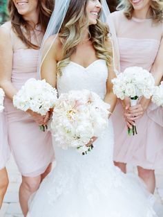 Blush bridesmaid dress, short  bridesmaid gown, white bouquets - Rachel Solomon Photography Blog | Chelsea and Ryan – Sassi | http://blog.rachel-solomon.com