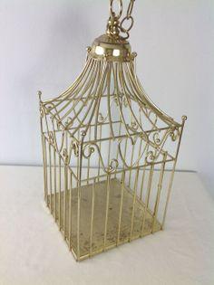Amazing Vintage Home Interiors Brass Gold Decorative Bird Cage