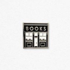 "reminds me of the series, ""black books"" Bookstore enamel pin"