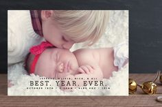 Best. Year. Ever.  Love this card for a baby's first Christmas!!  Find a link to more New Baby Holiday card options in the post.