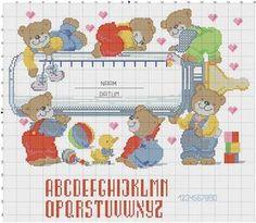Baby Cross Stitch Patterns, Cross Stitch For Kids, Cross Stitch Baby, Cross Stitch Charts, Cross Stitch Designs, Baby Patterns, Cross Stitching, Cross Stitch Embroidery, Baby Chart