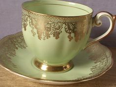 vintage green tea cup and saucer set Queen Anne by ShoponSherman,