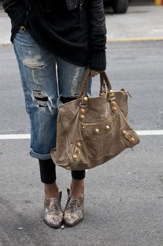 rolled up ripped jean + tights + sequin broques + nude satchel