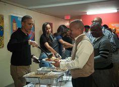 Obama Family Serve Thanksgiving Dinner to the Homeless