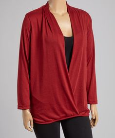 Another great find on #zulily! Burgundy Surplice Top - Plus by Highness NYC #zulilyfinds