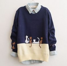 Cute cartoon cat sweater pullover