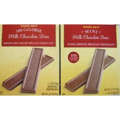 2 Boxes Trader Joe's Mini Milk Chocolate Bars...100 Calories Per Bar  Exquisite pleasures come in small packages...Our Mini Milk #Chocolate #Bars are perfectly portioned to satisfy your calorie controlled chocolate craving. For the ultimate taste experience, snap off a piece and let it melt in your mouth to experience the super smooth milk chocolate.