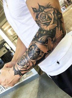 Half sleeve tattoo - Dragan Martinovic - tattoo old school tattoo arm tattoo tattoo tattoos tattoo antebrazo arm sleeve tattoo Half Sleeve Tattoos Forearm, Half Sleeve Tattoos For Guys, Half Sleeve Tattoos Designs, Full Sleeve Tattoos, Tattoo Designs, Tattoo Ideas, Roses Half Sleeve Tattoo, Sleeve Tattoo Men, Men With Tattoos