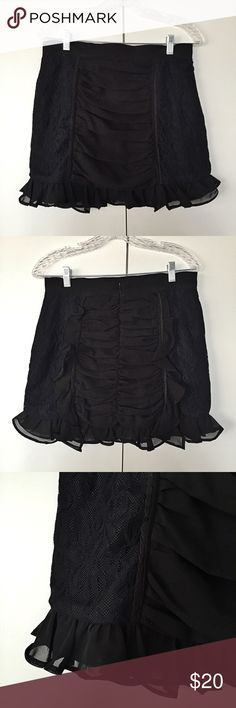 Black mini raffled and lace skirt! ❤️ Like brand new. Very chic! Shell and lining: hundred percent polyester, lace: 100% polyamide. Measures approximately 16 inches top to bottom, around waist 30 inches. Back zipper closure. Says size 14 but not true to it, best fits size M. Influence Skirts Mini