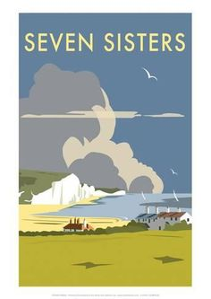 Vintage Travel Seven Sisters - Dave Thompson Contemporary Travel Print Art Print -