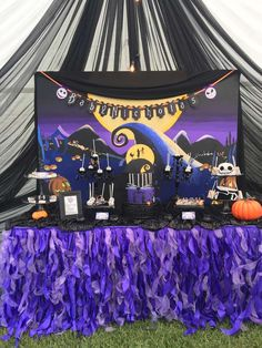 Check out this fun Nightmare before Christmas inspired Baby Shower. How cool is the dessert table? See more party ideas and share yours at CatchMyParty.com