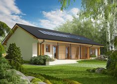 Projekt domu Eryk II G1 (30 stopni) 89,91 m² - koszt budowy - EXTRADOM Weekend House, Home Fashion, Tiny House, New Homes, Cottage, House Design, Cabin, Mansions, House Styles