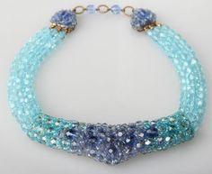 Mid Century Blue Coppola Toppo Vintage Glass Beaded Necklace | eBay