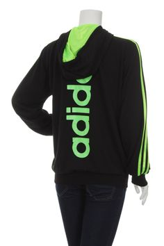 Vintage 90s Adidas Trefoil Big logo Spell Out Women's Sweatshirt Track top jacket Black and Green Size L by VapeoVintage on Etsy