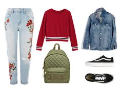 """BACK TO SCHOOL"" by latifa-amghar ❤ liked on Polyvore featuring Topshop, Vans, Moschino and Madewell"