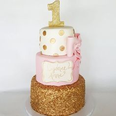 Pink And Gold 1st Birthday on Cake Central. Gold sequins and hand painted details.