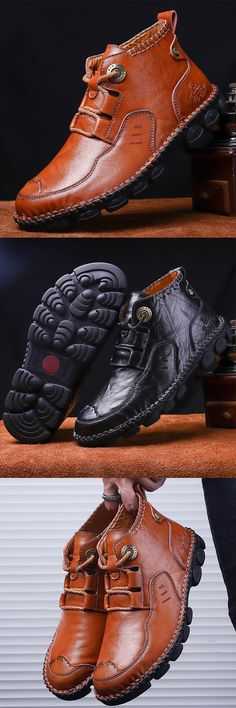 Men Cow Leather Hand Stitching Comfy Soft Lave Up Casaul Ankle Boots is fashionable, come to NewChic to buy mens boots online. Leather Lace Up Boots, Leather Loafers, Cow Leather, Knit Shoes, Men's Shoes, Shoe Boots, Mens Boots Online, Size 13 Shoes, Mens Boots Fashion
