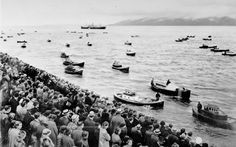 Astoria Annual Regatta. There are thirty-six boat competing in this Astoria Regatta on the Columbia River and a throng of spectators in the seats in the photo's foreground. There are thirty-six boat competing in this Astoria Regatta on the Columbia River and a throng of spectators in the seats in the photo's foreground. Ca. 1930s #PhotoFriday #ORHistory